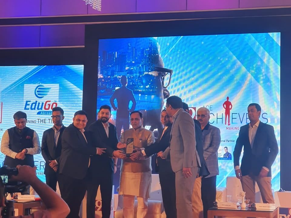 Edugo Abroad Receives TV9 Ace Achievers Award From Honorable CM Vijay Rupani
