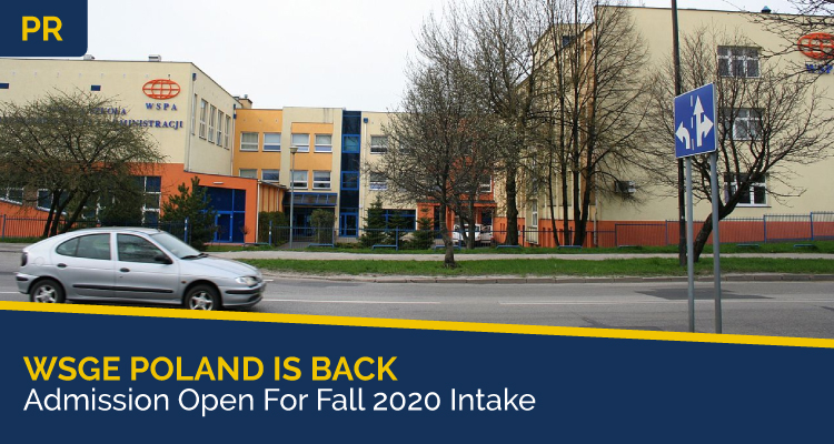 WSGE Poland Is Back Admission Open For Fall 2020 Intake