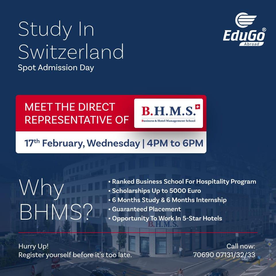 Study In BHMS Switzerland Spot Admission Day